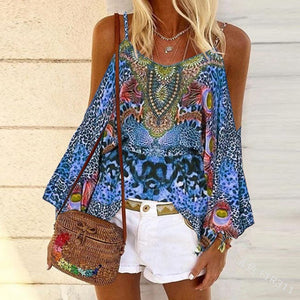 Retro Ethnic Vest Color Loose Blouse