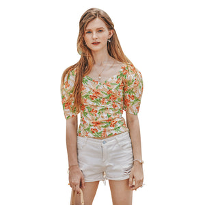 Summer Retro French Slimming Belly Waist Top T-shirt