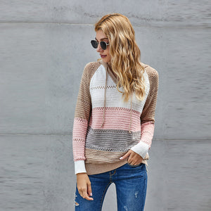 Street Fashion Autumn and Winter Knitted Hoodie Sweater Women Wear Long-sleeved Blouse
