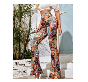 Women's Knitted Retro-Print Flared Pants