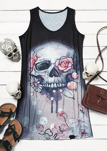Summer Floral Skull Heart V-Neck Mini Dress