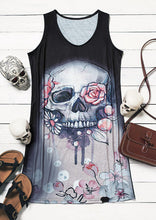 Load image into Gallery viewer, Summer Floral Skull Heart V-Neck Mini Dress
