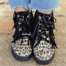 Load image into Gallery viewer, Autumn Leopard Print Tassel Boots