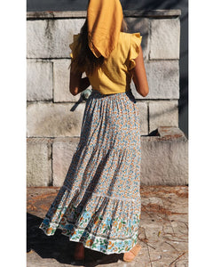 New Hollow Lace Stitching Positioning Printing Oversized Skirt