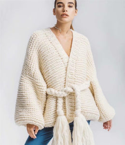 Knitting Loose Tassel Straps Long Sleeve Cardigan Sweater