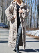 Load image into Gallery viewer, Autumn winter cardigan solid color medium length thick thread sweater sweater coat