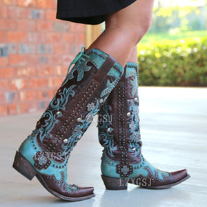 Oversized Women's Boots Autumn Winter Pointed Thick Heel Embroidered Printed Lace Up Mid Tube Leather Boots