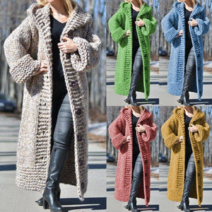 Autumn winter cardigan solid color medium length thick thread sweater sweater coat