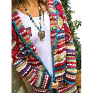 Women's Clothing Autumn And Winter New Printed Cardigan Long-sleeved Sweater