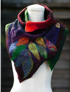 Warm Leaf Pattern Fashion Scarf