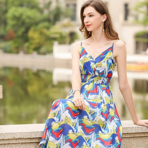 Printed Spaghetti Strap Beach Dress