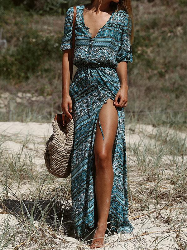 Floral Printed Half Sleeve Bohemia Maxi Dress