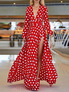 V-Neck Bohemia Vacation Long Sleeve Polka Dress