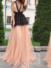 Load image into Gallery viewer, Deep V Neck Backless Splice Evening Maxi Dress