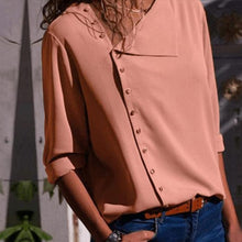 Load image into Gallery viewer, Casual Solid Color Irregular Diagonal Collar Button Long Sleeve Shirt