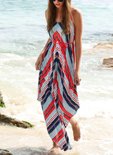 Load image into Gallery viewer, Summer Print Spaghetti Strap Irregular Beach Maxi Dress