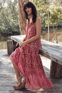 Holiday Big Swing Bohemian Beach Button Sleeveless Maxi dress