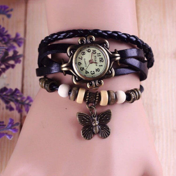 Vintage  Bracelet Women Butterfly Pendant Watch