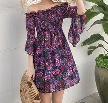 Load image into Gallery viewer, Floral Print Off Shoulder Batwing Sleeve Chiffon Beach Mini Dress