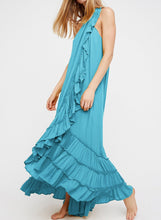 Load image into Gallery viewer, 2018 Beach Solid Color Halter Ruffle Maxi Dress