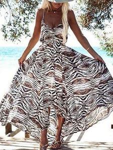 Spaghetti Strap Leopard Floral Beach Dress