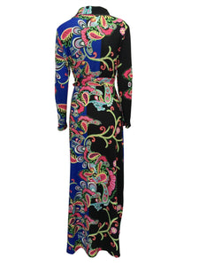 Elegant Floral Print V Neck Long Sleeve Side Split Belted Maxi Long Dress