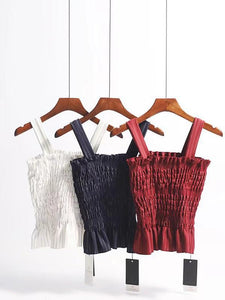3 colors sexy slim pleated camisole tops for vacation beach holiday