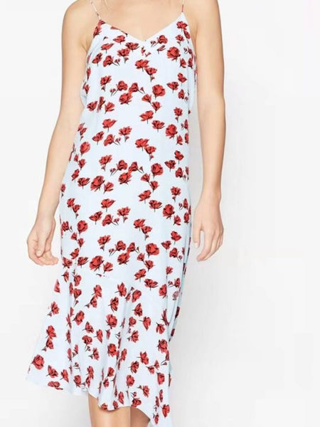 IRREGULAR V-NECK SPAGHETTI STRAPS FLORAL LONG DRESS