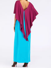 Load image into Gallery viewer, Fashion Contrast Color Asymmetry Cloak Patckwork Design Maxi Long Dress