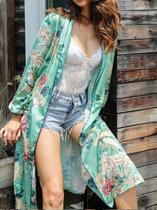 2018 New Arrival Fashion long sleeve printed kimono belt long coat women s bikini cover-ups