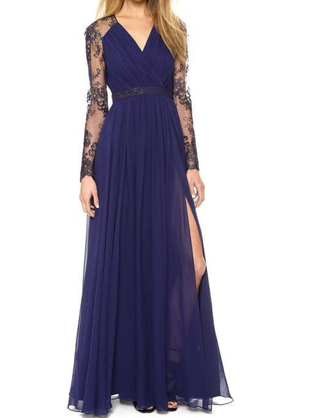 Lace Embroidered Splice V Neck Long Sleeve Evening Maxi Dress