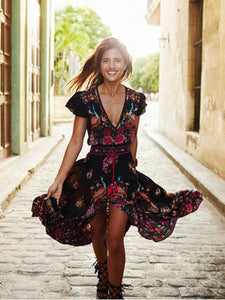 Dresses Retro Bohemian Maxi Dress V-neck Dresses For Ladies