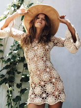 Load image into Gallery viewer, Bohemian Bell Sleeve Crochet Swimsuit Cover-up