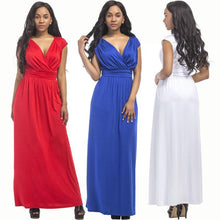 Load image into Gallery viewer, Fashion solid color women s sexy dress evening dress plus size dress