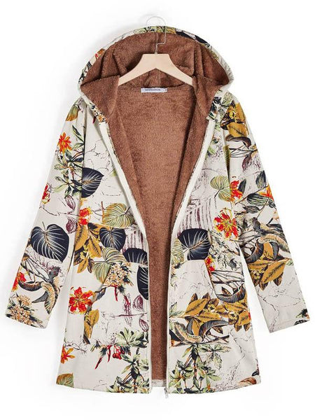Retro Long Sleeve Leaves Floral Print Hoodie Outwear