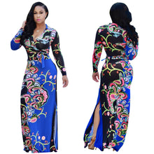 Load image into Gallery viewer, Elegant Floral Print V Neck Long Sleeve Side Split Belted Maxi Long Dress