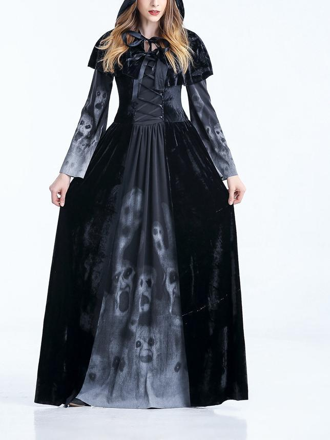 Black Witch Cosplay Halloween Maxi Dress