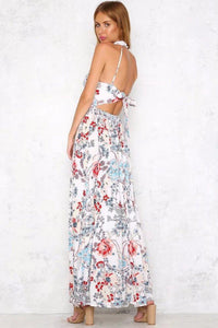 2018 Floral Sleeveless Halter Beach Maxi Dress