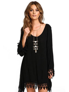 Split-joint Hollow Mini Dress