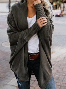 Irregular Solid Color Turndown Collar Long Sleeve Cardigan Sweater