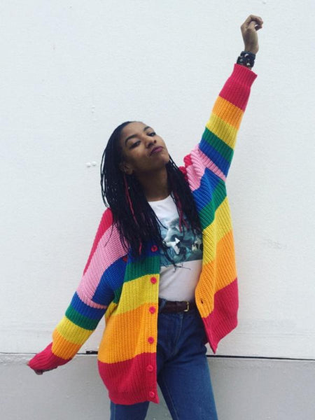Colorful Rainbow Striped Long Sleeve Button Cardigan Sweater