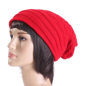 Men and women autumn and winter pleated cuffed hooded outdoor ski wool cap