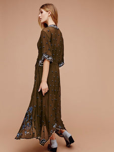 Print Embroidered V Neck Half Sleeve Button Maxi Dress