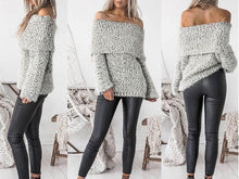 Load image into Gallery viewer, Knit Off Shoulder Long Sleeve Tops Sweater