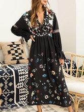 Load image into Gallery viewer, Flared Sleeves V-Neck Floral Maxi Dress