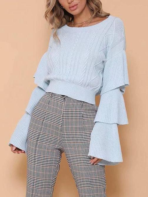 Flared Sleeve Knit Loose Tops Sweater