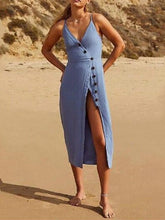 Load image into Gallery viewer, Sexy Spaghetti Strap Backless Button Split Beach Dress