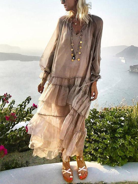 2018 New Long Sleeve Solid Color Splice Maxi Dress