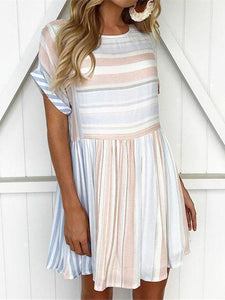 Stripe Round Neck Short Sleeve Mini Dress
