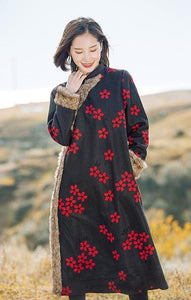 Chinese National Style Vintage Floral Long Woolen Outwear Coat